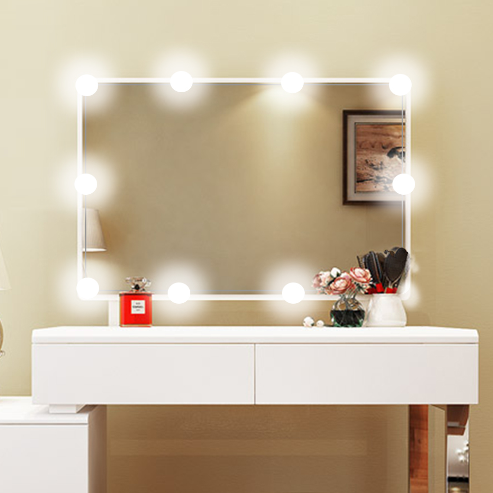 Makeup Mirror Vanity LED Light Bulbs Kit for Dressing Table with Dimmer USB plug and 10 pcs 1200lm White Bulb, Linkable vita