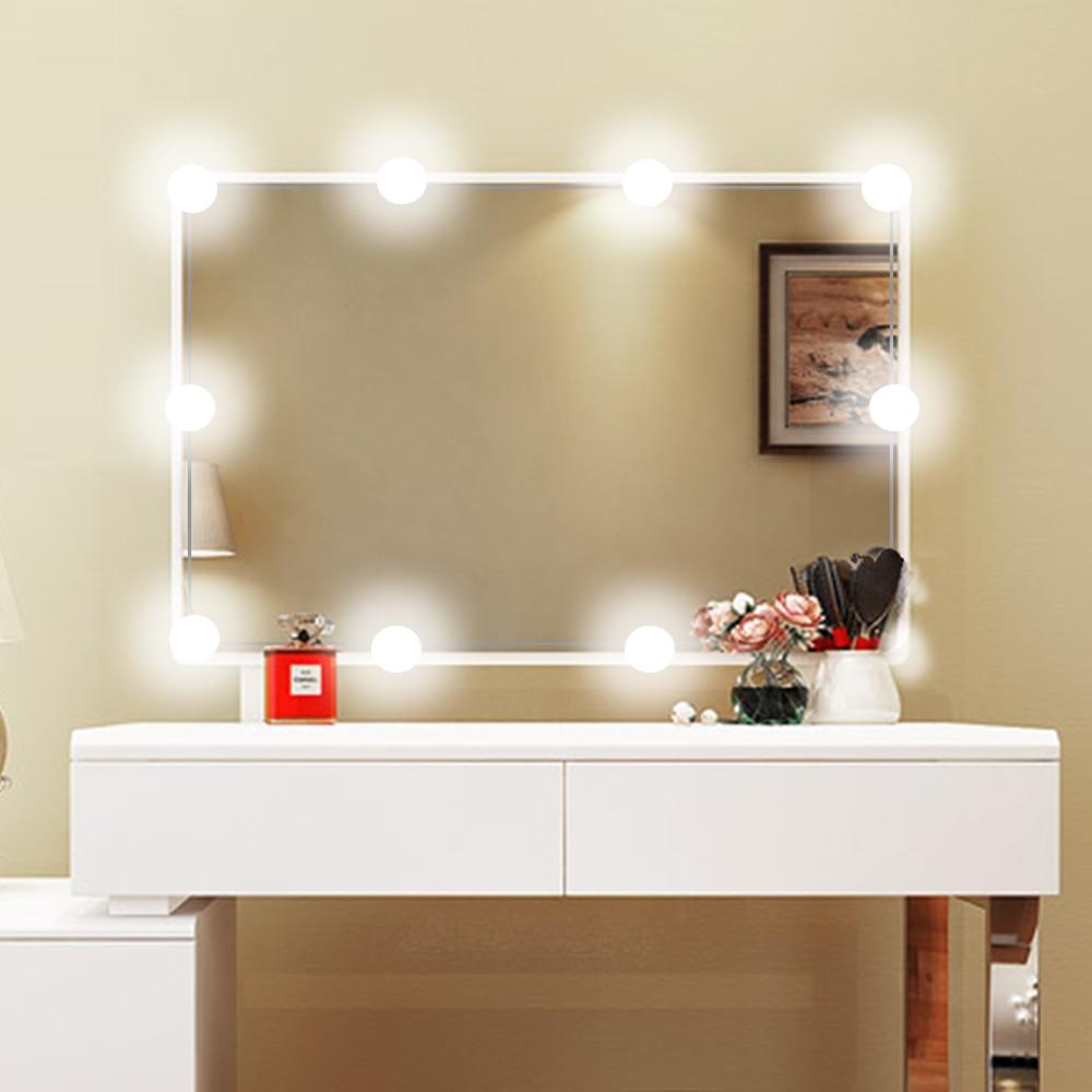 Makeup Mirror Vanity LED Light Bulbs Kit for Dressing Table with Dimmer USB plug and 10 pcs 1200lm White Bulb, Linkable картридж nv print cyan для hl 3140cw 3150cdw 3170cdw dcp 9020cdw mfc 9140cdn 9330cdw 9340cdw 1400k nv tn241c