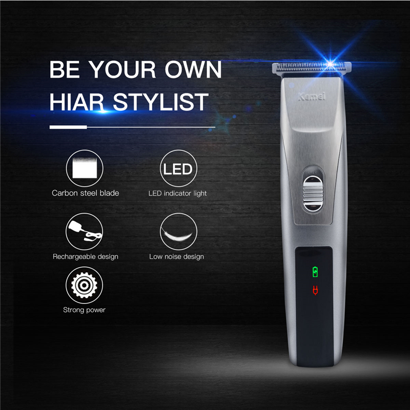 220-230V Kemei Hair Trimmer Rechargeable Hair Clipper Shaver Cutter Carbon Steel Blade Clipper Hair  Machine Men With LED pj dingling ef607 rechargeable hair clipper trimmer w accessories set black orange ac 220