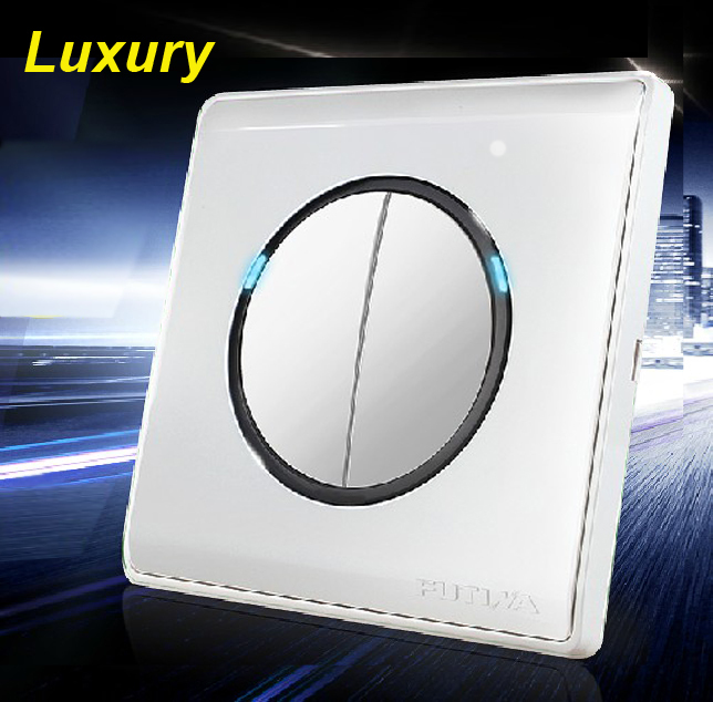 Free Shipping,2 Gangs 2 Way, LED Indicator, Luxury Click Switch, 110V~250V Push Button Switch,Pressure Wall Light Switch
