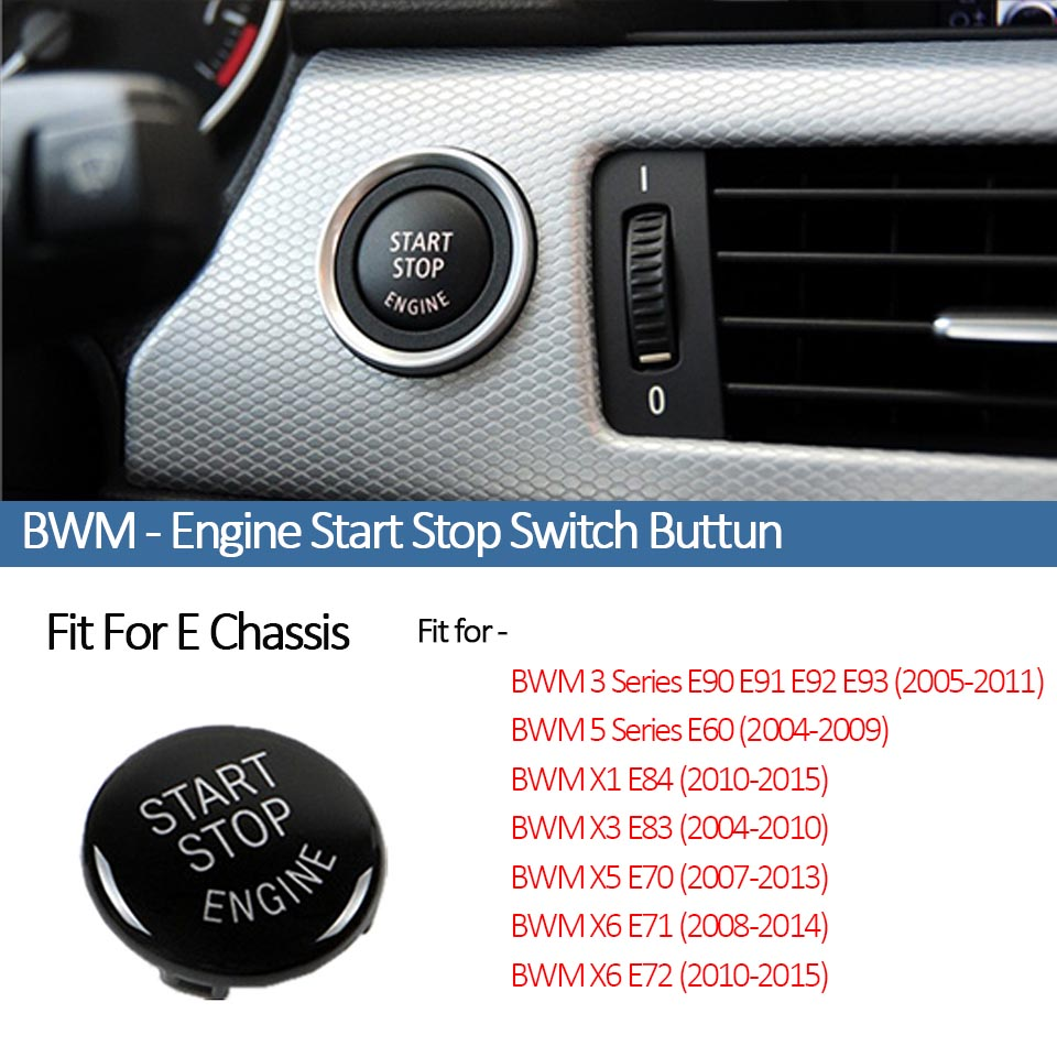 Carbon Fiber Car Engine Start Stop Push Button Switch Replace Cover Trim Cap Sticker for for BMW 1 2 3 4 5 6 7 Series Styling Tools