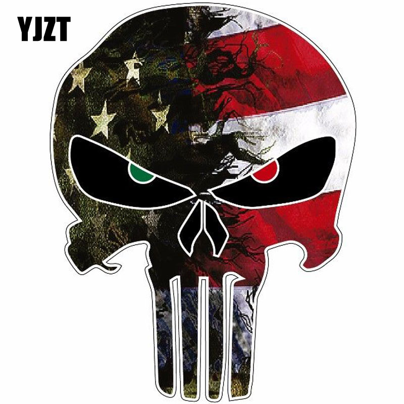 YJZT 10.8CMX14CM USA Flag Camo Small Punisher Skull Reflective Personalized Car Stickers Motorcycle Decals C1-6036