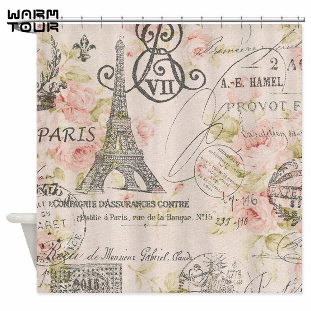 Fabric paris shower curtain - Warm Tour Pink Floral Elegant Paris Eiffel Tower Art Decorative Fabric Shower Curtain Wtc054 China
