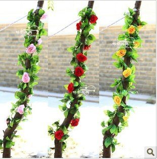 Wholesale high artificial fake silk rose flower vine rattan cane,2.2m,10 flowers,4 colors,home decor,craft,wedding promote