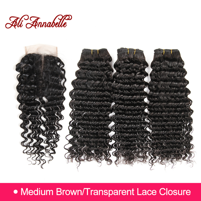ALI ANNABELLE HAIR Human Hair Bundles With Closure 3 Bundles Brazilian Deep Wave Hair Weaving with Lace Closure Remy Hair Bundle