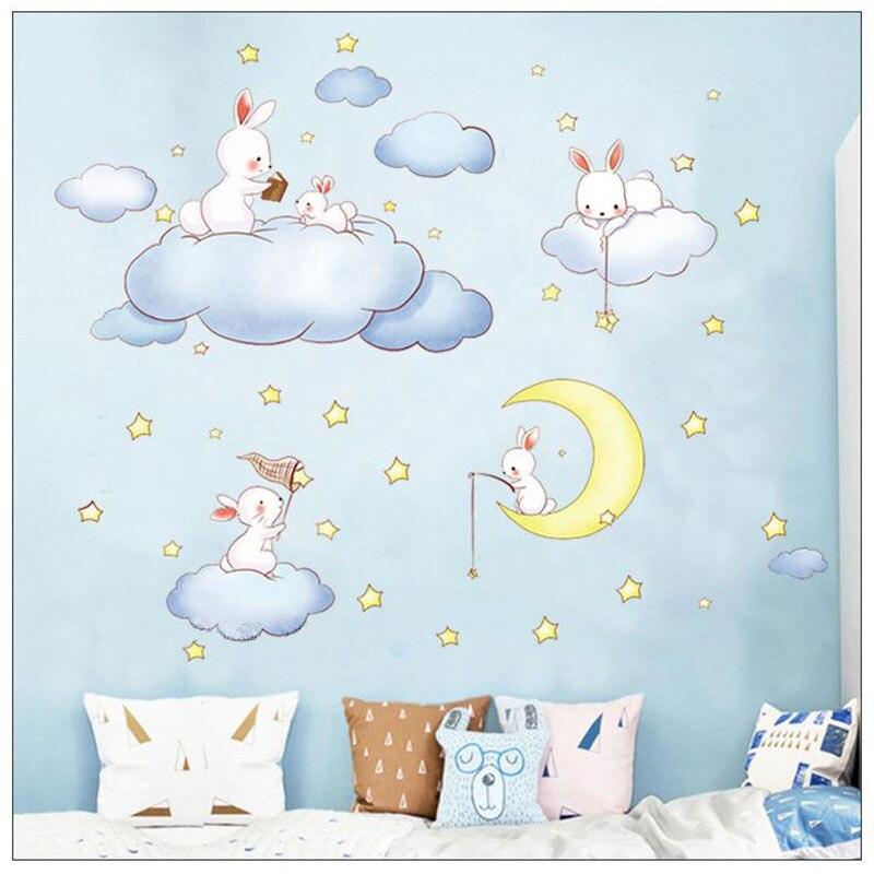 Yhouse Cute Cartoon Wall Sticker Rabbit Star Wall Decor Cloud Kitchen Children Room Stickers Poster Decoration For Kids Supplies