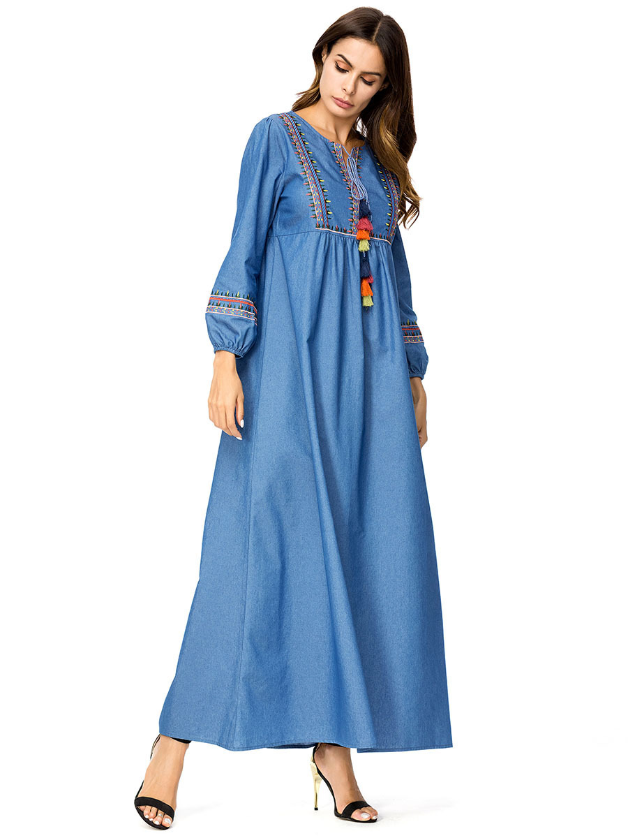 1707b8b393d77 US $39.08 |Casual Jeans Maxi Dress Embroidery Floral Abaya Plus Size Kimono  Vintage Long Robe Gowns Bohemia Swing Muslim Islamic Clothing-in Islamic ...
