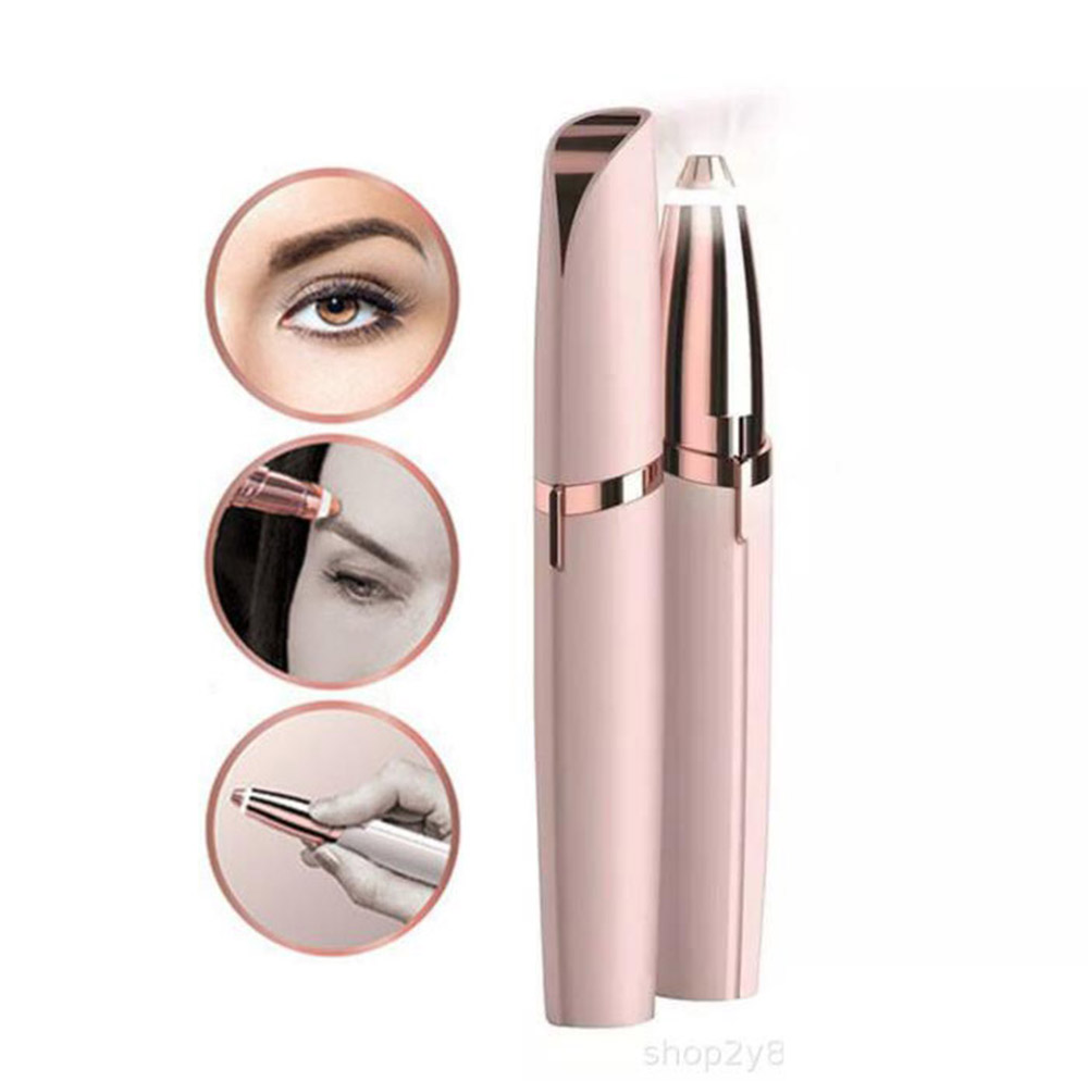 Mini Electric Eyebrow Trimmer Lipstick Brows Pen Hair Remover Painless Eye brow Razor Epilator with LED Light OPP Package image