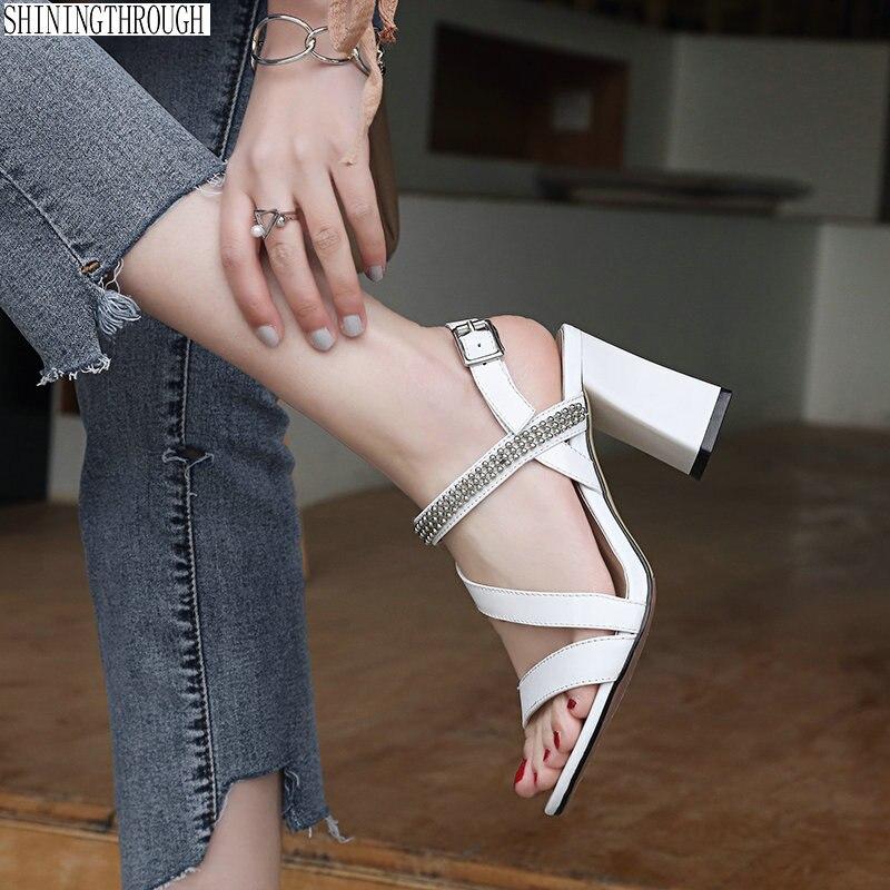 8 cm 하이힐 여성 샌들 정품 가죽 신발 여성 크리스탈 여름 스타일 파티 드레스 신발 여성-에서하이힐부터 신발 의  그룹 1