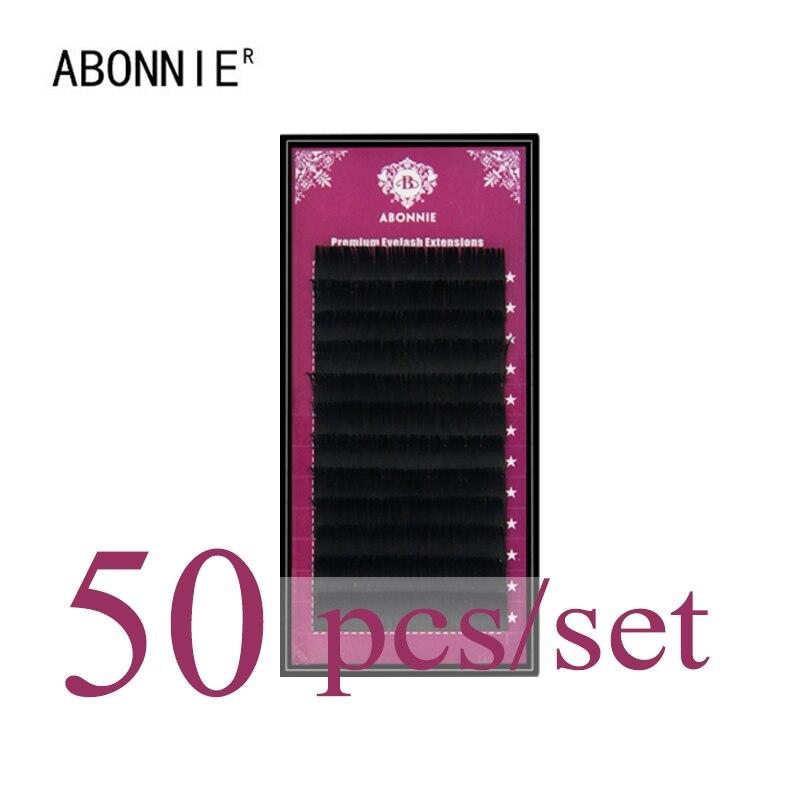 ABONNIE 50 шт. набор, высокое качество наращивание ресниц норки, индивидуальные ресницы, натуральные ресницы, Поддельные Накладные ресницы