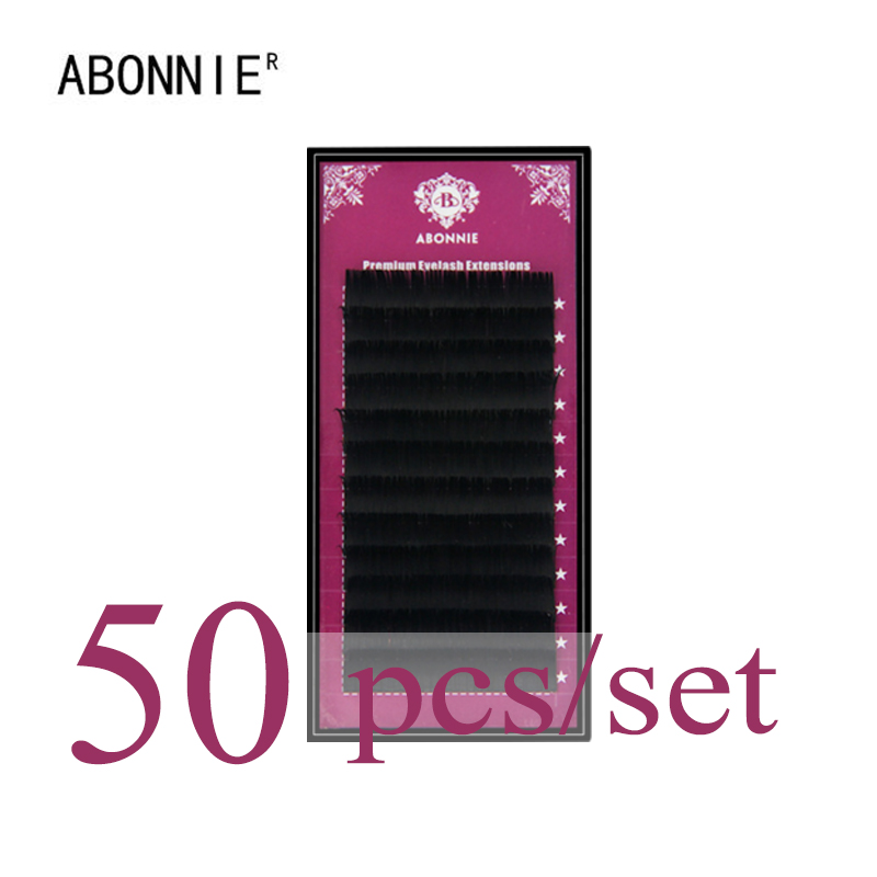 ABONNIE 50 pcs set,High quality mink eyelash extension,individual eyelashes,natural eyelashes,fake false eyelashes mling 50 cases lot eyelashes extension for russian volume premium quality mink eyelash extension individual lashes extension