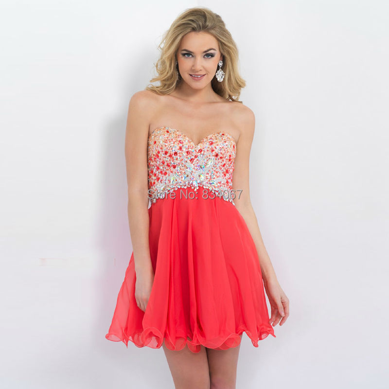Rojo de Gasa de Colores Cristales Cortos Vestidos de Fiesta 2016 Una línea Vestidos de Fiesta