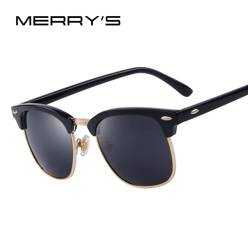 MERRY'S Men Retro Rivet Polarized Solbriller 2016 Classic Brand Designer Unisex Solbriller UV400 Fashion Mand Eyewear