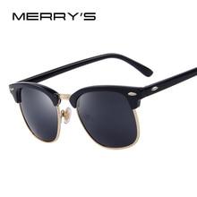 MERRY'S Мужчины Ретро Заклепки Солнцезащитные очки 2016 Классический Марка Дизайнер Солнцезащитные очки UV400 Мужской Моды Очки