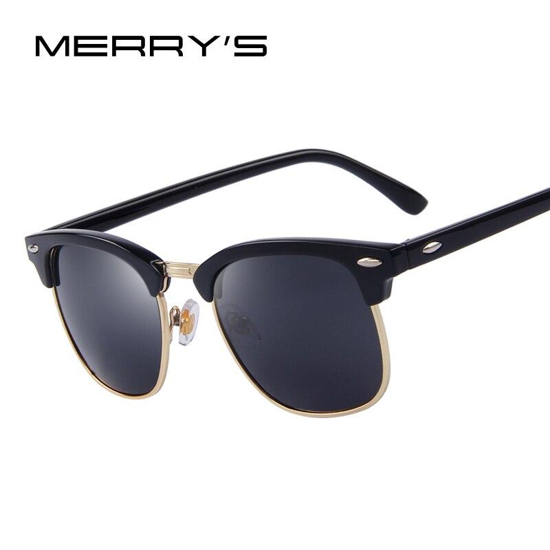 MERRY'S Uomini Retro Rivetto Occhiali Da Sole Polarizzati 2016 Classico Del Progettista di Marca Occhiali Da Sole Unisex UV400 Moda Maschile Occhiali