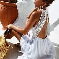 ArtSu, Mini vestido de verano bohemio con escote Halter, vestido de encaje blanco para chica dulce, Vestido de playa sin mangas y sin espalda para Mujer, Vestidos ASDR60086