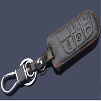 Genuine Leather Car Key Case For Jeep 2015 Grand Cherokee Dodge Journey Chrysler 300C Key Chain