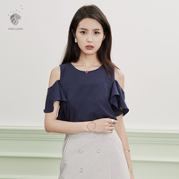 Van Faith Lane Ruffled Strapless Tops Female Korean Chiffon Shirt Short Sleeved Summer All Match Thin