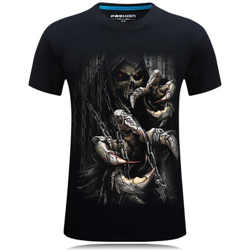 Venda quente nova marca de moda magro verão men t-shirts 3d pirate skull print curto-sleeved casual tops tshirt masculino plus size camisas