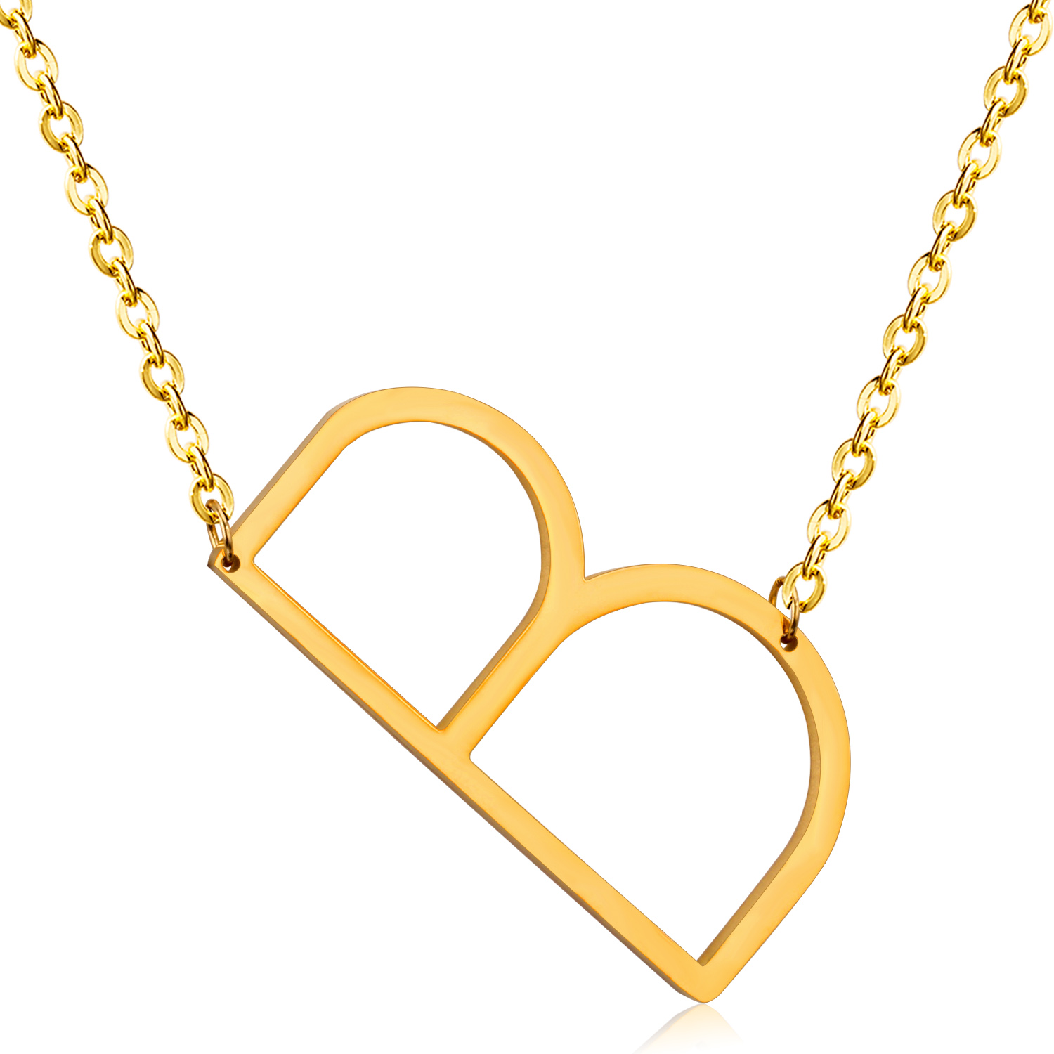 Gold Necklace Capital Initial B Letter Pendant & Necklace Fashion Alphabet Letter Necklace Women Men(
