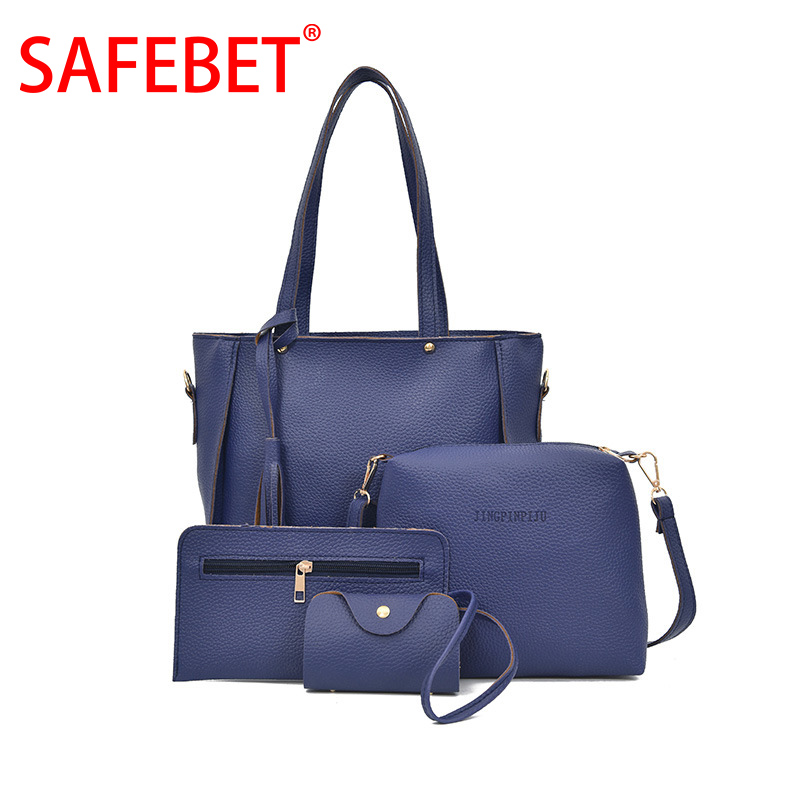 SAFEBET Brand Women Bag Set Top-Handle Big Capacity Female Tassel Handbag Fashion Shoulder Bag Purse Ladies PU Leather Crossbody women genuine leather tote bag set top handle big capacity female tassel handbag fashion shoulder bag purse ladies crossbody bag