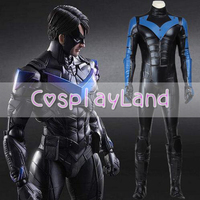 Batman Nightwing Cosplay Costume Arkham City Richard John Dick Grayson Suit Halloween Cosplay Costume Custom Made Jumpsuit