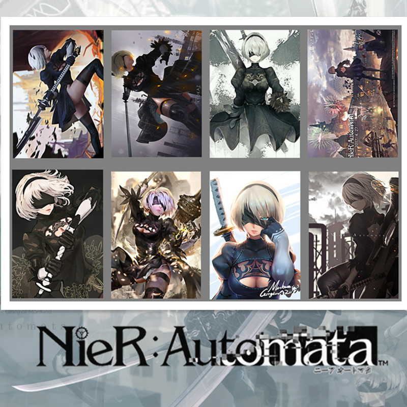 8 PCS/LOT NieR:Automata NieR 2B Toys Posters Sticker Wall Pictures YoRHa No. 2 Type B Poster Size: 42 Cm X 29 CM