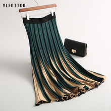 2019 New Fashion Vintage Pleated skirt Women Striped knitting Women's skirt Mid-Calf Spring autumn Casual long skirt Female abstract striped pleated skirt