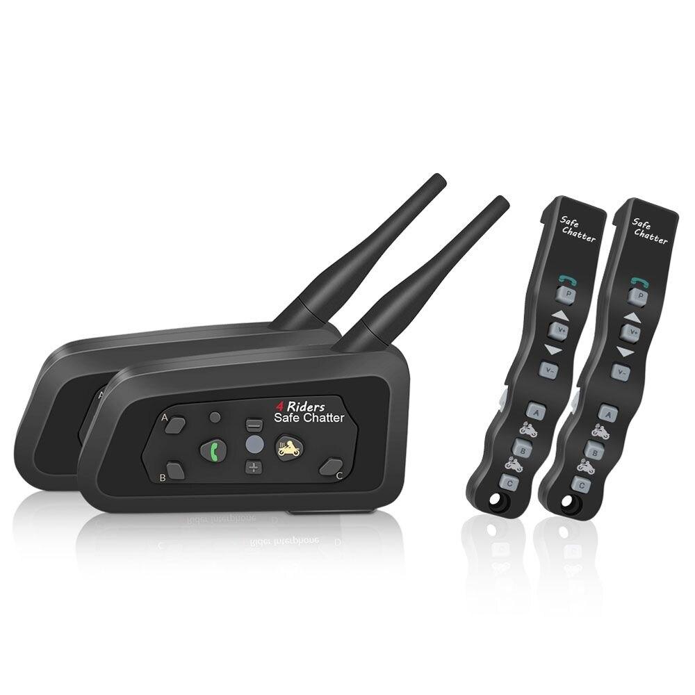 2 pcs Lexin A4 Interphone de Casque de Moto Bluetooth Casque pour 4 Cavaliers Interphone soutien Télécommande BT Interphone Sans Fil