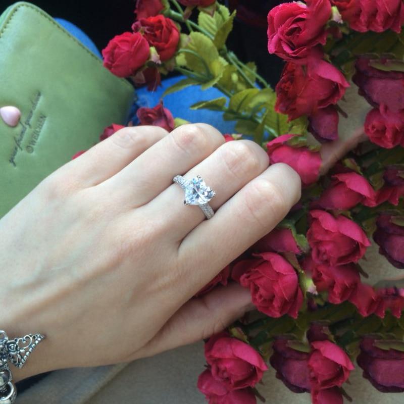 stor hjärta sten 3 karat kristall smycken förlovning vigselringar - Märkessmycken - Foto 3