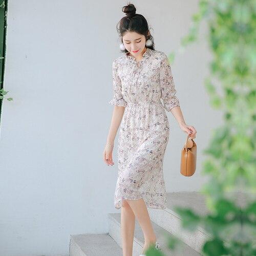 Dress Chiffon 2017 Summer Korean Bohemian Floral Print Bow Collar