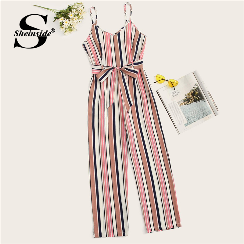 Sheinside Striped Belted Wide Leg Cami   Jumpsuit   Women Spaghetti Strap Clothes 2019 Summer Sleeveless Ladies Elegant   Jumpsuits
