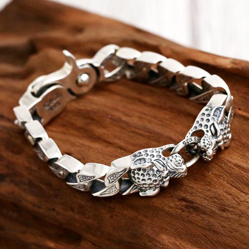 Pure Handmade Men Bracelet 100 925 sterling Silver Bracelet double leopard head Retro Heavy Thai silver