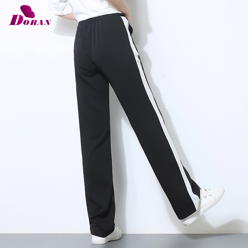 Women Pants Side Striped Sweatpants Long Loose Stright Trousers Black with White Female Casual Workwear Woman Pants Plus Size