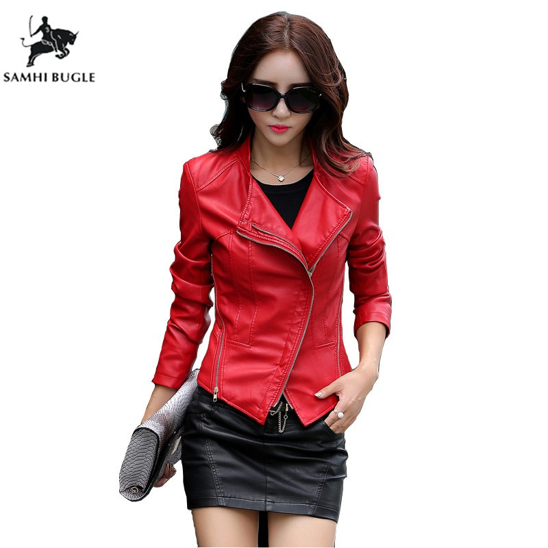 Black Red Plus Size M-5XL Fashion 2018 Autumn Winter Women Leather Coat Female Slim Short Leather Jacket Women's Outerwear