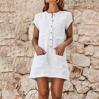 3a8bcf8eb Vestido Mujer verano Casual Color sólido botón bolsillo manga corta Mini  Vestido moda nuevo Casual cuello redondo Vestido