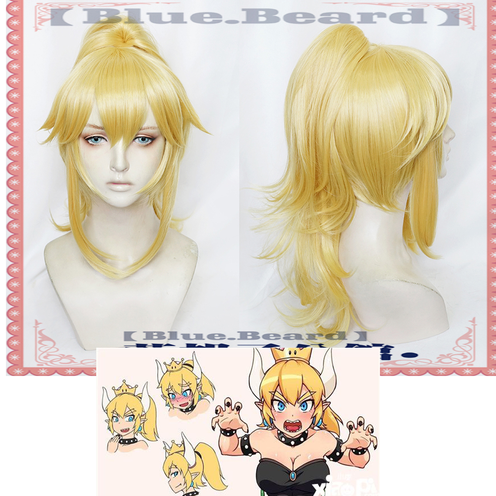 Anime Bowsette Cosplay Hair Kuppa Koopa Hime Princess Headwear Yellow Cosplay Synthetic Hair for Women Hair accessories