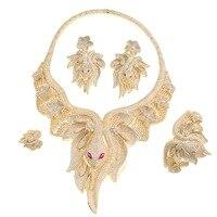 Великолепные кристаллы CZ Циркон большая змея Цепочки и ожерелья кольца, серьги, браслет 4 компл. Для женщин выпускного вечера вечерние украш
