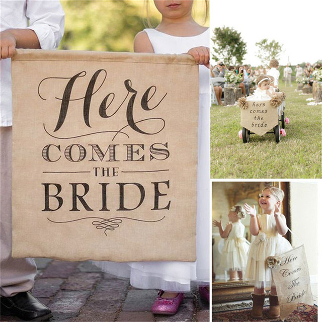Rustic Burlap HERE COMES THE BRIDE Chic Wedding Hessian Sign Wedding Flower Girl Sign Bride Shower Bunting Banner Flags