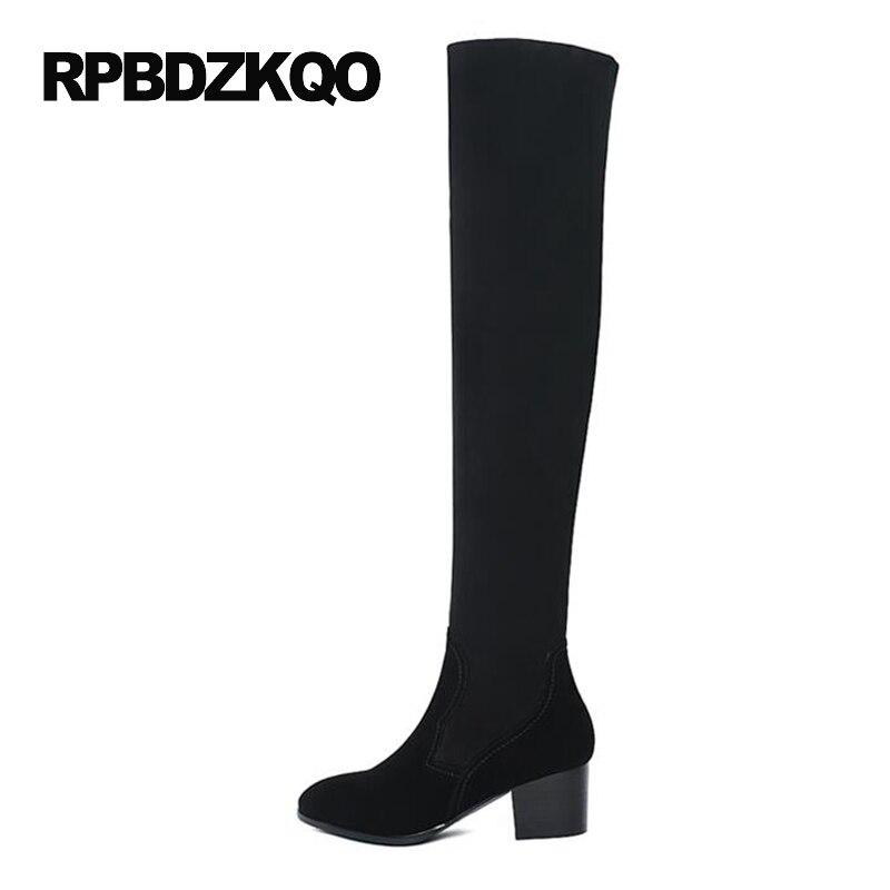 LICRA zapatos de tacón alto estiramiento sobre la rodilla moda delgada piel de oveja cuero genuino gamuza muslo mujeres botas largas gruesas - 2