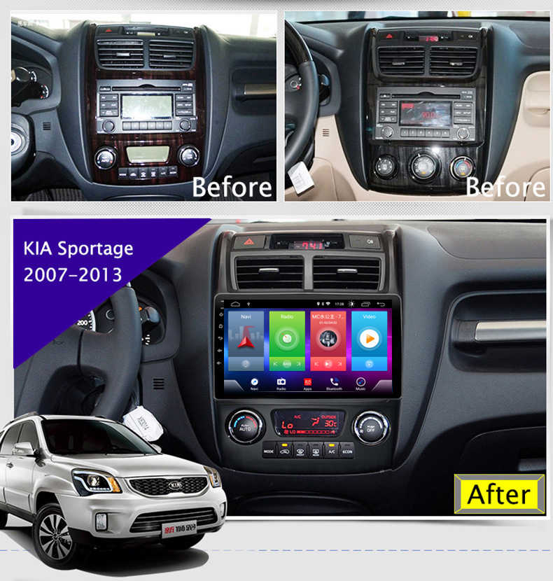 Full Touch Screen Car Android 8.1 Radio Player For KIA Sportage 2007-2013 GPS Navigation Video Multimedia Built In Bluetooth