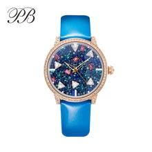 2016 Nueva Famosa PB Marca Princesa de La Mariposa de Lujo de Cristal Austriaco de Ver el Mar de Estrellas Lady Sapphire Rhinestone Reloj