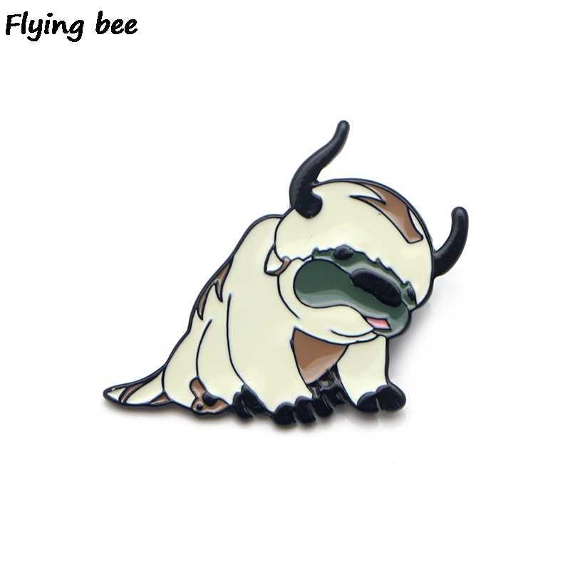 Flyingbee Avatar Lucu Anjing Enamel Pin Kartun Anjing Bros Pakaian Pin Lencana untuk Denim Blus Pesona Dasi Pin Perhiasan X0150