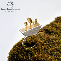Lotus Fun Moment Real 925 Sterling Silver Natural Creative Handmade Fashion Jewelry My Little Garden Open