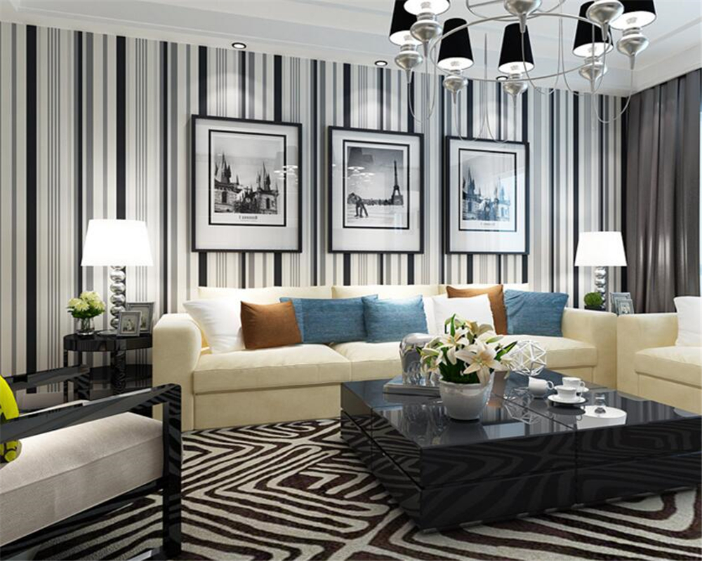 Online Beibehang Wallpaper For Walls Modern Black White Stripe Bedroom Sitting Room Dining Installs Aliexpress