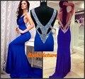Vaina v-cuello sin mangas del verano del estilo del vestido vestido largo recorte abalorios azul real vestido de noche vestidos de gala