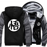 Fashion Autumn Winter 2016 Men Jacket Dragon Ball Z Baseball Son Goku Costumes Anime Drake Black