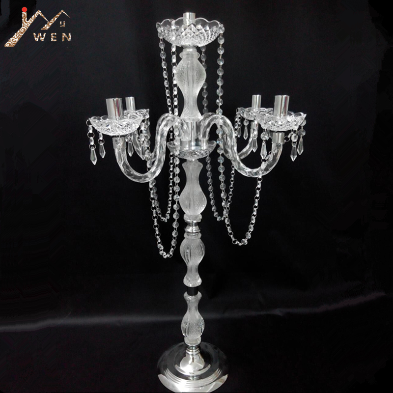 10PCS 90 cm height Acrylic 5-arms metal candelabras with crystal pendants wedding candle holder centerpiece party decor
