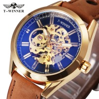 WINNER Luxury Men Auto Mechanical Watch Brown Nubuck Leather Strap Blue Mirror Case Skeleton Dial Top