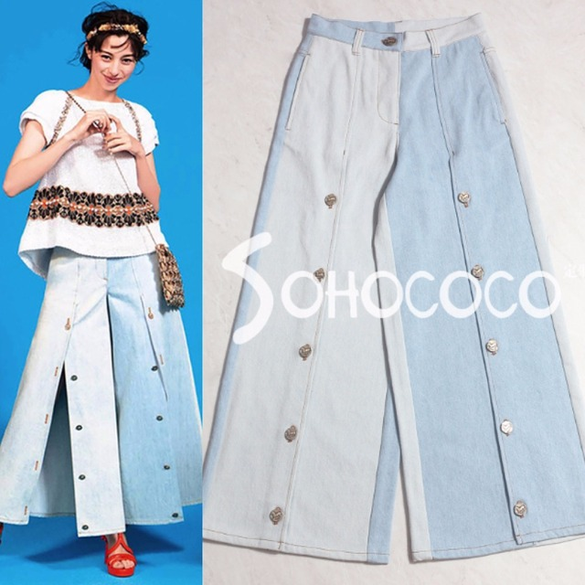 4487fb7f8ae High Street Jeans 2018 Hot Sale Fashion Blue Clothes Women Sexy Buttons  Loose Wide Leg Pants High Waist Casual Trousers Girls